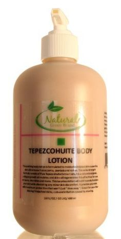 Pure Tepezcohuite Body Lotion by Natural Green Brand. $24.95. This luxurious lotion will continuously hydrate your skin while alleviating any minor skin discomfort.. What it is: This soothing body lotion is formulated to moisturize irritated skin caused by skin ailments such as eczema, psoriasis and rashes. This extra strength formula consists of Pure Tepezcohuite Extract which is a natural analgesic, collagen growth stimulator, and skin cell regenerator. It is effective for ...