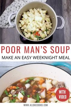 Poor Man's Soup is a great budget-friendly meal that is full of hearty, satisfying flavors. Made with common pantry ingredients, it comes together easily and turns out perfect whether you use the stove top or slow cooker. You'll want to make this soup again and again!