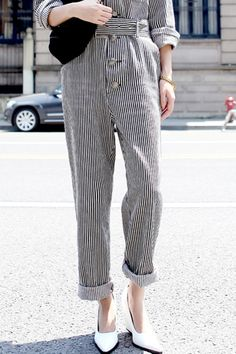 Oversized Stripe Jumpsuits