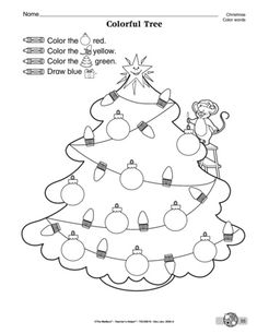 Following directions and color word identification are at the core of this Christmas worksheet.