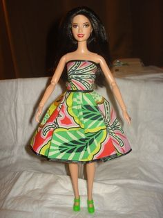 Bright multi-colored floral party dress for Barbie Dolls - ed365. $8.00, via Etsy.