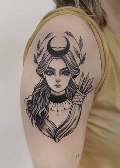 Deer Skull Tattoos, Skull Girl Tattoo, Girl Power Tattoo, Artemis Tattoo, Athena Tattoo, Artemis Art, Fake Tattoo Sleeves, Sleeve Tattoos, Power Girl Costume