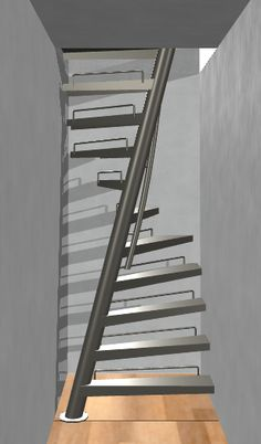 EeStairs is renowned for bespoke design, but did you know that we have a compact standard staircase available for limited space locations? The by EeStairs® is designed to suit situations where space is at a premium, such access to a loft room. Spiral Stairs Design, Staircase Design Modern, Home Stairs Design, Railing Design, Loft Design, Small Space Staircase, Space Saving Staircase, Black Staircase, Standard Staircase