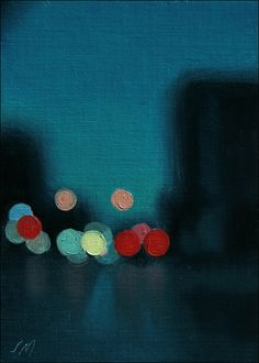 artist stephen magsig's city lights paintings, which depict detroit's  streetscapes at night