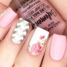 Pink Nails With Pattern Accent #flowers #glitter It is trendy to design nails with a chevron pattern. Black and white, green and brown and other color combos for nail art are in. #chevronnails #nails #naildesigns
