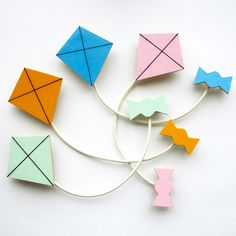 Kite and Ribbon Brooch - Mint, Yellow, Blue or Pink £11.00