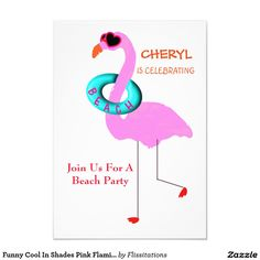 Funny Cool In Shades Pink Flamingo Beach Party 3.5x5 Paper Invitation Card