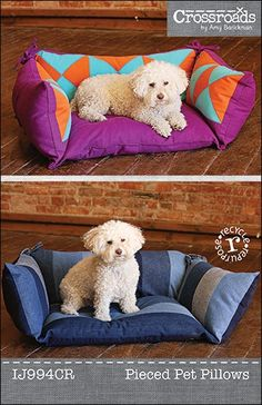 Create a fun & comfy bed for your furry pal using Indygo Junction's Pieced Pet Pillows Pattern. $9.99, available as print or downloadable pdf pattern. Piece in Crossroads Denim or recycled denim jeans - or, construct with one fabric!