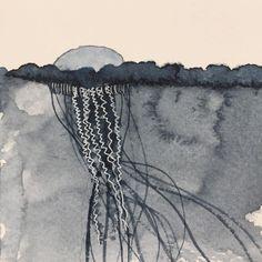 Day 19: what lies beneath   #titaniumwhite #paynesgrey #limitedpalette #jellyfish #seascape #whatliesbeneath