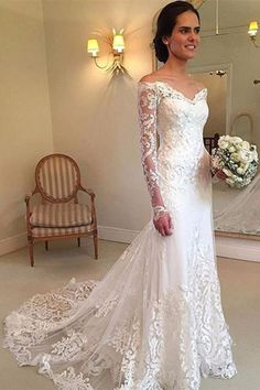 Enticing 2019 Wedding Dresses Off The Shoulder Long Sleeves Lace Wedding Dress Bridal Gown Lace Wedding Dress, Wedding Dress With Sleeves, 2018 Wedding Dress Wedding Dresses 2018 Wedding Dress Tea Length, Wedding Dress Types, Lace Wedding Dress, Wedding Dresses 2018, Wedding Dress Trends, Long Sleeve Wedding, Perfect Wedding Dress, Cheap Wedding Dress, Bridal Dresses