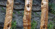 Hand Carved Hummingbird Walking Stick by Brenda Stinnett at cottagemadegifts on Etsy.com