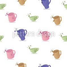 Teetassen Mit Tropfen Nahtloses Vektor Muster by Igor Korotkov at patterndesigns.com Vektor Muster, Surface Design, Patterns, Retro, Teacup, Vectors, Block Prints, Retro Illustration, Pattern