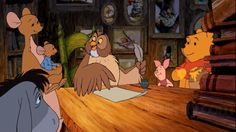 Pooh bear's friends writing a letter to Tigger to help cheer him up
