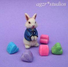 Uno-de-una-clase-1-12-Casa-de-Munecas-en-Miniatura-Bunny-Rabbit-tren-mascota-pelo-hecho-a-mano