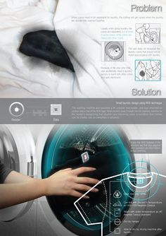 """Wasching Machine Innovation at last: """"Smart Chime"""" by Jiae Ohjiae 2013-12: scans clothing tags to auto-determine appropriate wash cycle! / minimalist aesthetics / glass front controls / clock timing dials"""