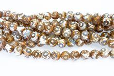 agate eye beads -white and brown gemstone beads - Dzi agate beads supplies - Tibetan  10mm Dzi agate beads - Mala prayer beads - 15 inch