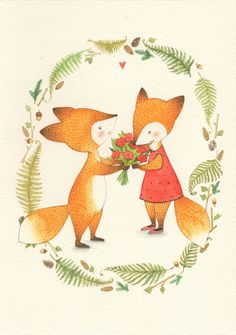 Foxes in love Fuchs Illustration, Cute Illustration, Nature Illustration, Faire Part Invitation, Fox Drawing, Fox Art, Cute Fox, Art Graphique, Illustrations And Posters