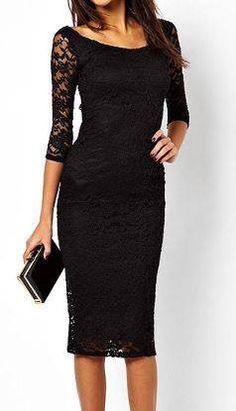 Kanten zwarte jurk