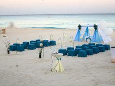 Such a striking beach wedding! #SomethingBlue