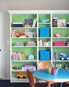 Love the green backing on the bookcase. Adorable kids playroom. billy bookcases and play table #centsational girl