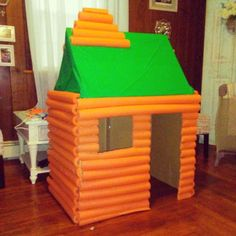 Made Brax a log cabin house for his lumberjack birthday party! Still need to spray paint the pool noodles brown & make some lumberjack… Birthday Party Decorations Diy, Birthday Diy, Rodeo Birthday, Party Activities, Activities For Kids, Preschool Themes, Fun Crafts, Crafts For Kids, Summer Crafts