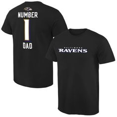 Baltimore Ravens NFL Pro Line Number 1 Dad T-Shirt - Black