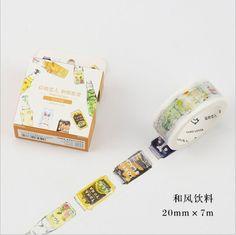 30mm Wide Bottle Drink Juice Happy Life Washi Tape DIY Decoration Planner Scrapbook Sticker Label Masking Tape #Affiliate