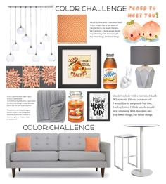 """""""Peach and grey"""" by brianaac ❤ liked on Polyvore featuring interior, interiors, interior design, home, home decor, interior decorating, Joybird, CB2, Surya and Yankee Candle"""