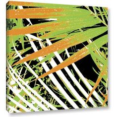 ArtWall Herb Dickinson Palms Away Iii Gallery-Wrapped Canvas, Size: 24 x 24, Black