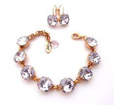 Smoky Mauve Swarovski crystal bracelet 12mm by SiggyJewelry
