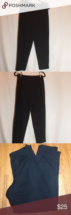 Talbots's stretch black slacks. Size 10 Professional black slacks. Side zipper. 64% polyester 31% Viscose. 5% Lycra/Spandex. Waist 32 inches. Inseam 30 inches. Front rise 11 inches. Back rise 13 inches. Talbots Pants Trousers