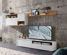 Contemporary TV wall storage system in choice of oak effect, white ...