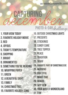 December Photo-a-Day Challenge. This is such a fun idea for the holiday season!good for December Daily ideas December Daily, Hello December, December Pictures, Instagram Challenge, Noel Christmas, Christmas Photos, Christmas Journal, Christmas Challenge, Christmas Ideas