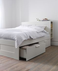 A bed with storage, like BRIMNES, helps maximize the storage space in your…