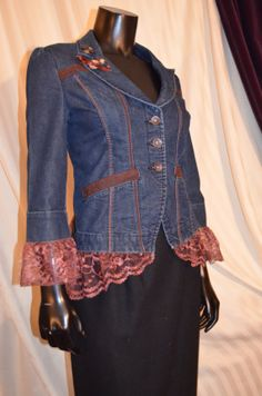 Denim Jacket with Chocolate Lace Bustle and by SowsEars on Etsy,