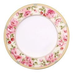 Hertford features a classic traditional floral design, with touches that make it perfectly modern. Pink and red roses adorn the rim of the plate and the band is surrounded by a stunning infinity etching amid the striking gold band. Delicate raised turquoise enamel dots applied to the band create the perfect finishing touch.