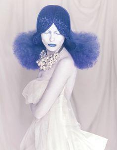 This incredible image is part of stylist's Manuel Mon's breathtaking Crisalida collection. Photog: Bernardo Baragano #HotOnBeauty #FantasyHair #BlueHair