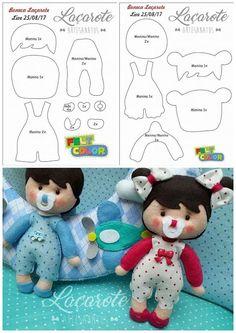 Crochet ideas that you'll love Felt Doll Patterns, Felt Animal Patterns, Felt Crafts Patterns, Felt Crafts Diy, Doll Crafts, Baby Crafts, Yarn Dolls, Sock Dolls, Fabric Dolls