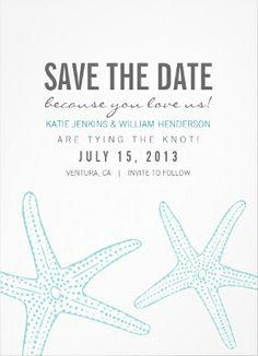 Starfish summery #save_the_date wedding invitations.