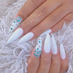 White Stiletto Nails With Tiffany Blue Rhinestones