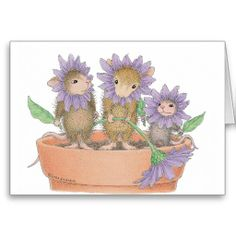 House-Mouse Designs - Flower Pot Mice Greeting Card <3