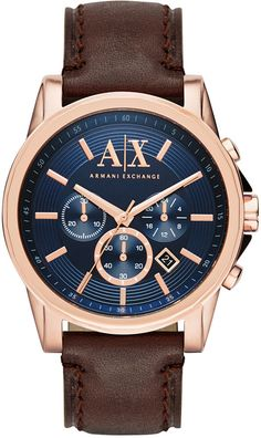 Armani Exchange Men s Chronograph Dark Brown Leather Strap Watch 45mm  AX2508 Brown Leather Strap Watch 6188642f0c