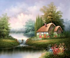 images of cotswold cottage paintings - Google Search