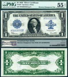 1923 1 Silver Certificates Reverse Change Over Pair Fr 238 And 237 Very Rare United States Currency Caa 9 2017 Balpa