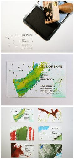 stamp & paint business cards. OBSESSED. isle of skye.