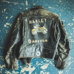 Vintage hand painted leather jacket located in the Antique Archaeology LeClaire shop. We love the character of this one, misspelling and all.