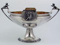 Gorham coin silver centerpiece bowl with cherubs and bats, silver anniversary gift, c1866 (Britannia Silver)