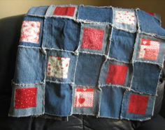 upcycle denim quilts   Quilt or BABY quilt REDWORK col ors quilt squares made from upcycled ...
