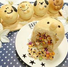 Buns surprise 💥💥 by it's so amaziiiing and original. I love the surprises. Thank you very much for all messages 💋💋 C'est… Cute Desserts, Asian Desserts, Cute Food, Good Food, Yummy Food, Kawaii Cooking, Bread Art, Dessert In A Jar, Pastry And Bakery