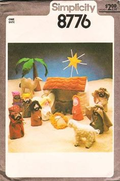 Simplicity 8776 Christmas Creche Nativity Scene, Dolls And Animals, UNCUT by DawnsDesignBoutique on Etsy Animal Sewing Patterns, Vintage Sewing Patterns, Doll Patterns, Simplicity Patterns, Soft Sculpture, Amazon Art, Sewing Stores, Nativity, Sewing Crafts